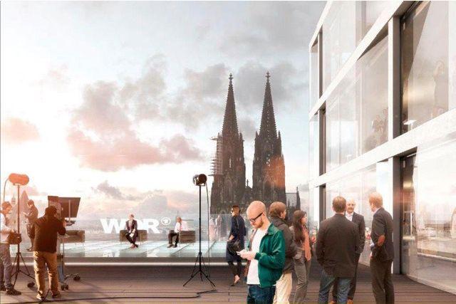 Das Dachterrassenstudio mit Domkulisse auf dem Dach des generalsanierten WDR Fimhauses. Visualisierung- Buchner Bründler (bloomimages)