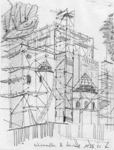 Zeichnung_vom_Wiederaufbau_St_Michael_im_Baugeruest_Hildesheim_15_Oktober_1955_web